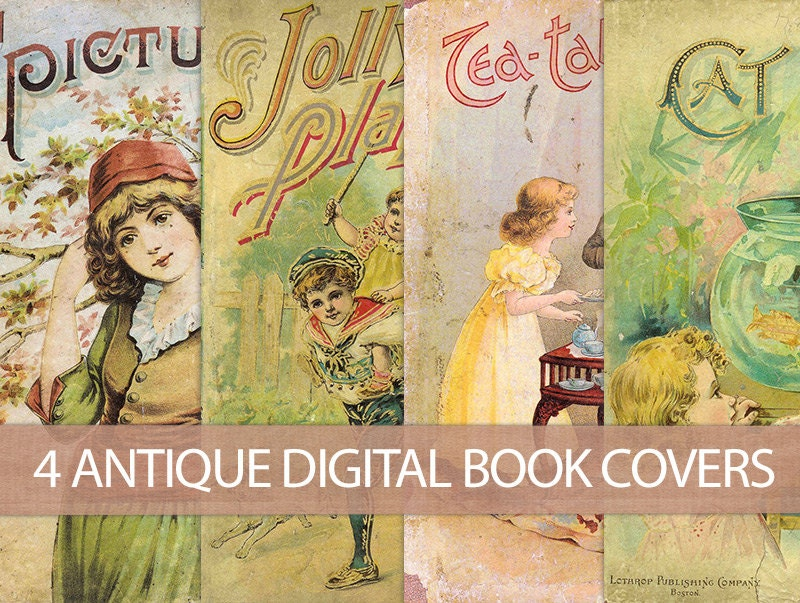 Vintage Children S Book Cover Prints ~ Digital vintage book covers instant download antique