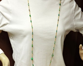 X-tra Long Light Weight Necklace ... Green and Gold with Black Accent ...  about 50 inches long
