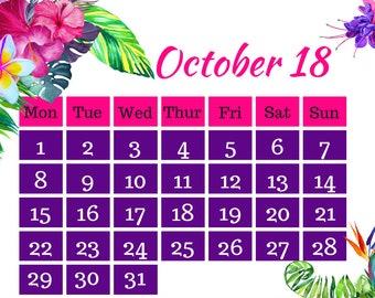 October 2018 Printable Calendar A4