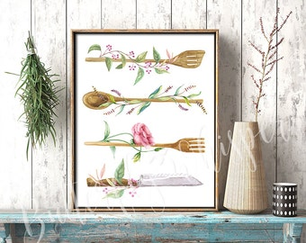 Kitchen decor, Kitchen wall art, Kitchen printable, Kitchen print, Rustic kitchen, Watercolor Kitchen Utensils, Kitchenware illustration