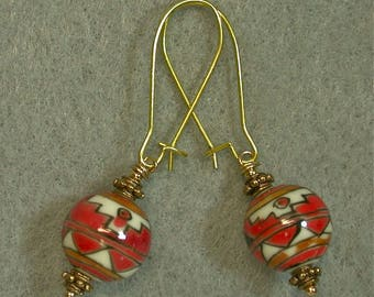 Vintage Chinese Red White Black Porcelain Dangle Drop Bead Geometric Earrings,Gold Kidney Ear Wires - GIFT WRAPPED