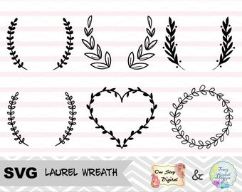 Svg File, Laurel Wreath Svg File,  Laurel Wreath Leaf SVG cut file, hand drawn wreath SVG files, Laurel Wreath Svg for Cricut Machine, 0005