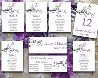 DIY Wedding Seating Chart Template   Love Bird Tree Branch Lavender Purple Gray Word Template   Table Number Card   Wedding Download
