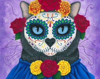 Day of the Dead Cat Art Cat Painting Gato Muerto Mexican Sugar Skull Cat Black Cat All Souls Day Cat Art Print 5x7 Cat Lovers