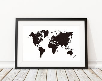 Driftwood world map canvas copy kalalou usa wall hanging maplenest black world map print world map decor world map poster home wall decoration gumiabroncs Images