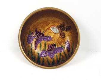 Vintage 1970s Brass Dish with Hummingbirds and Purple Flowers
