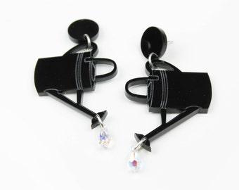 Watering can earrings - laser cut acrylic earrings - plexiglass earrings -  black earrings - swarovski teardrop crystal