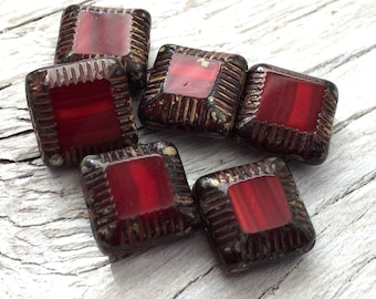Square Glass Beads - Czech glass beads, red picasso pack of 6 14mm