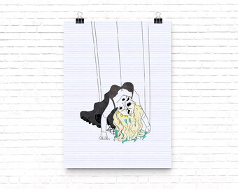 Blonde Puppet Doll Hanging From Strings // Print
