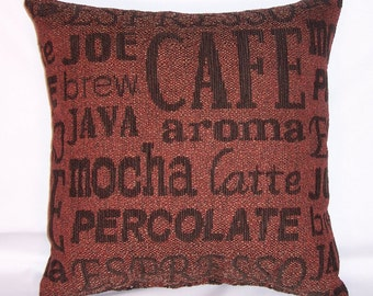 "Coffee Lovers Pillow Cover - Brown Barrista Script, 17"" Square Cushion Java Mocha Espresso Brew Latte"