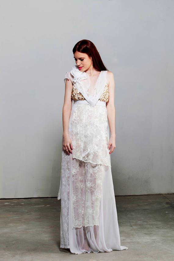 Vintage-Spitze Spitze Brautkleid Vintage-Kleidung Boho