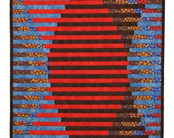 """Modern Quilted Wall Hanging, Interleave Art Quilt, Red Brown Blue Wall Quilt, Abstract Fiber Art  Wall Hanging, 17""""x17"""", Quiltsy Handmade"""