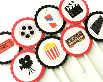 12 Movie Cupcake Toppers, Movie Birthday, First Birthday, Popcorn, Movie Theme, Baby Shower, Movie Watching, Sleepover Party, Film Party