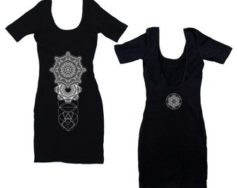 REALMS Mandala Black Mini Dress Black Sacred Geometry Dotwork Floral Mandala