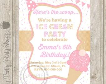 Ice Cream Social / Birthday Party Invitation
