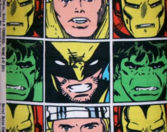 A Great Marvel Commics With Iron Man, Thor, Hulk, And Bird Man Blocks Fleece Fabric Sold By The Yard Free US Shipping