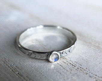 Stamped Silver Moonstone Stacking Ring