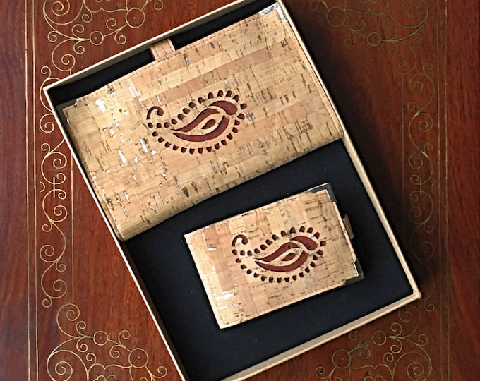 Pair of vegan cork leather wallets/ large wallet with 10 card slots and two cash pouches/small wallet with 4 card slots/paisley design