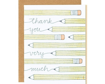 Thank You Very Much Pencils Letterpress Card // 1canoe2
