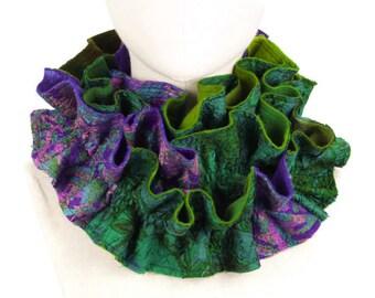 Wool Silk Scarf, Nuno Felted Ruffle Scarf, Holiday Scarf, Elegant Handmade Scarf, Patchwork Scarf, Luxury Womens Gift, Green and Purple