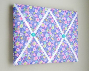 "11""x14"" Purple Floral & Butterflies Memory Board or Bow Holder, Bow Board, Vision Board, Memo Board, Photo Display, Business Card Holder,"