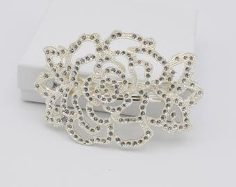 Silver Plated Glitter Rose Barrette