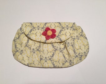 Pleated Fabric Clutch  Yellow and Gray