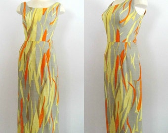 1960s Sleeveless Linen Maxi Dress / Mod Summer Gown / Mid Century Neusteters Couture