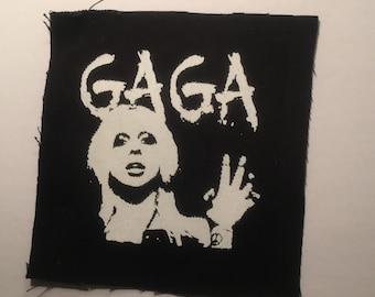 Lady GAGA hand printed patch