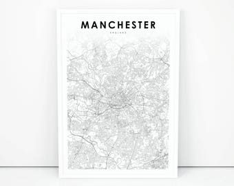 manchester map print england united kingdom uk map art poster city street road map print nursery room wall office decor printable map