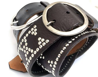 Black Leather Guitar Strap with Tiny Silver Studs, Adjustable Size, Eco-Friendly Genuine Leather Recycled Belts, Unisex, Unique, OOAK