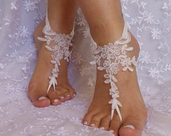 bridal  lace  barefoot sandal anklet Beach wedding barefoot sandals