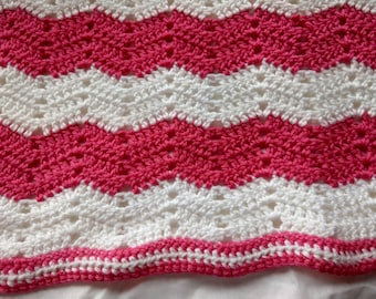 Handmade Crocheted Baby Girl Zig Zag Blanket