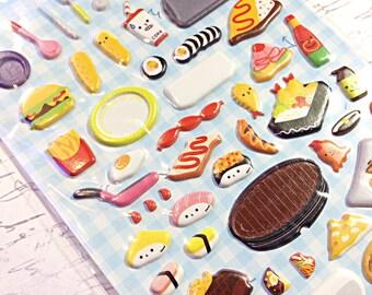 Kawaii lunch box sticker sheet - kawaii puffy sticker sheet