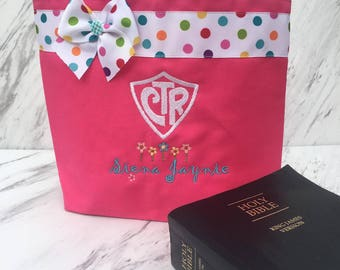 Pink scripture tote- with CTR shield and flowers-Personalized at NO additional charge