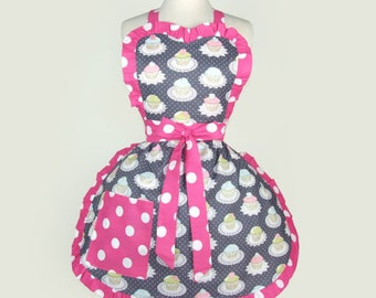On Sale!!! Gray and Pink All Cupcakes Apron
