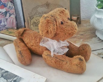 Rarity! Pre-war stuffed dog teddy from the 19th century.