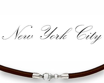 """3mm Brown Leather Cord Necklace Silver Clasp 14"""" inches - 36"""" inches Silver Clasp, You choose length. LCR0300BRNS"""