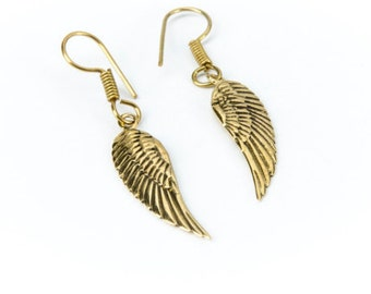 Angel Wing Brass hanging earrings handmade, Brass, Tribal Style, Delicate angel wings, Gift boxed, Free UK post BG5