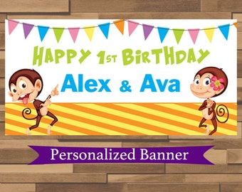 """18""""x36""""  Monkeying Around Personalized Party Banner 