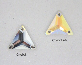 12 Pcs - Preciosa Crystal Triangle Sew On Stone - 16mm - Crystal & Crystal AB