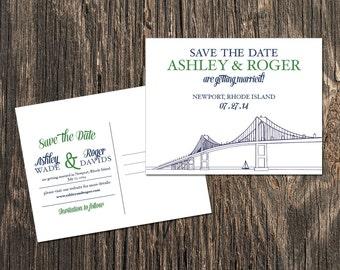 Newport Rhode Island Save the Date - Newport Bridge
