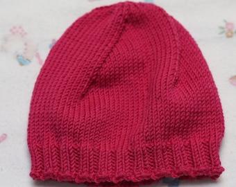 Knit Newborn Hat, Berry Wool Baby Hat, Wool Newborn Hat, Pink Knit Newborn Baby Hat, Fuchsia Baby Hat, Baby Beanie, Magenta Baby Girl Gift