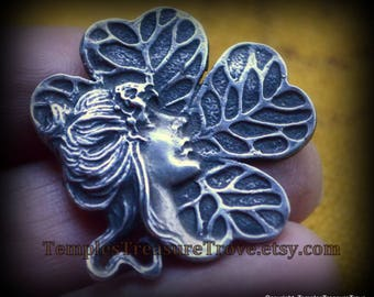 Sterling Art Nouveau Brooch Pendant/Alphonse Mucha-esque Pendant/Fae Lady Luck brooch pendant/four leaf clover 925 brooch pin/gift for her