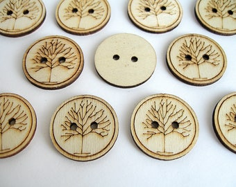 14 buttons 25mm tree screen print wood