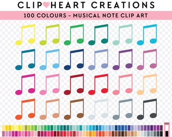 100 Musical Notes Clipart, Commercial use, PNG,  Digital clip art, Digital images, Rainbow digital scrapbooking clip art, Music clipart