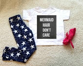 Mermaid hair don't care Children's Toddler Tshirt. Sizes 2T, 3t, 4t, 5/6T  funny graphic kids shirt gift, toddler girl clothing, kids girls