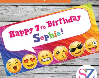 """18""""x36"""" Emoji Theme Indoor Outdoor Personalized Party Banner Smiley Face Kissy Face"""