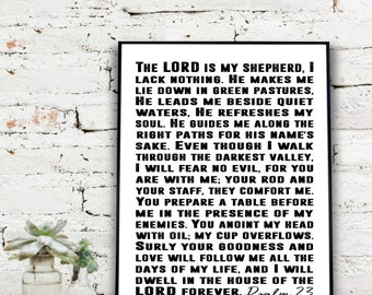 Instant Download Printable Art, The Lord is my Shepherd....Psalm 23 Print  {DIGITAL PRINT}