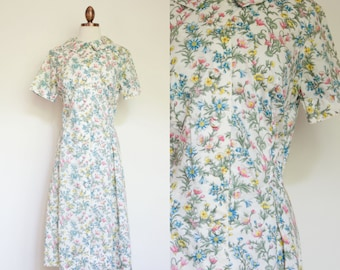 vintage 1960s floral shirtwaist dress / early 60s McGlen white floral shirtdress day dress / M - L